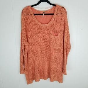 Free People Orange Oversized Chunky Knit Sweater